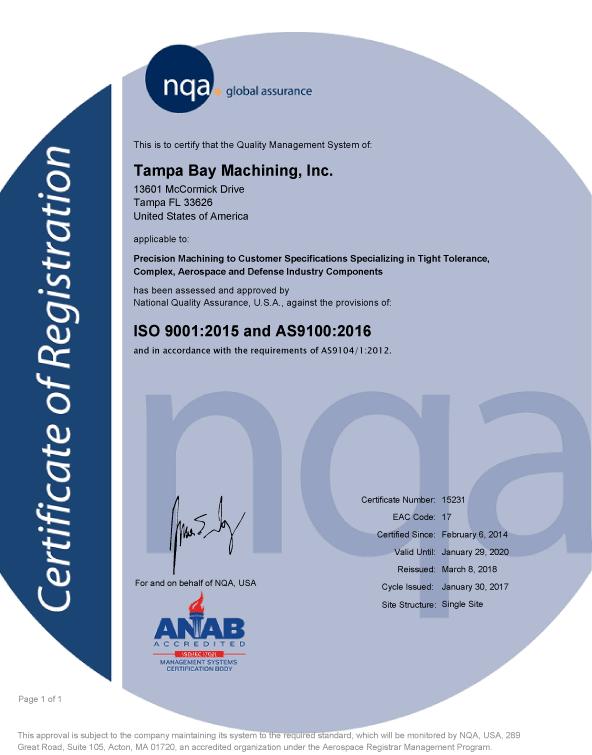 AS9100C Certificate