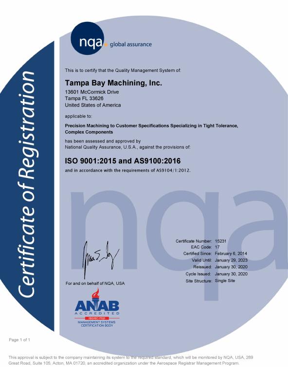 AS9100 Certificate 2020